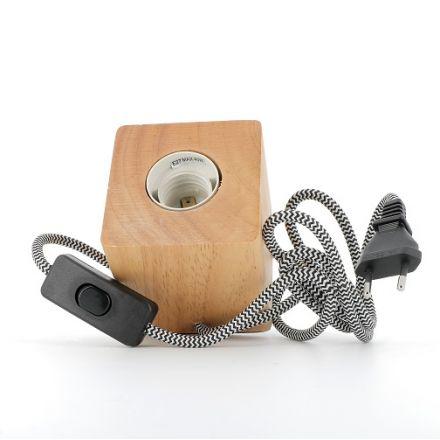 Lampe de table BOIS carrée E27 Câble textile 1.30m