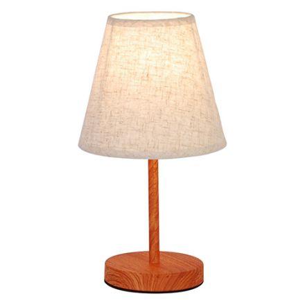 LAMPE À POSER E14 MAX.40W ABAT-JOUR LIN BLANC - PIEDS BOIS FONC