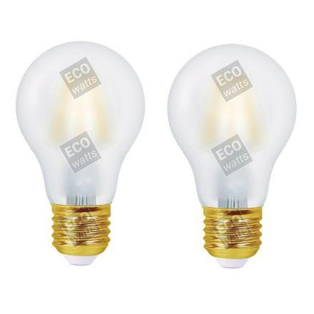 ECOWATTS - Lot de 2 Ampoules  Standard A60  Filament LED 8W E27 270° 960lm 2700K