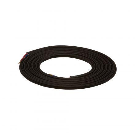 Câble Textile Rond 2x0,75mm2 Double Isolation Noir 2 Mètres