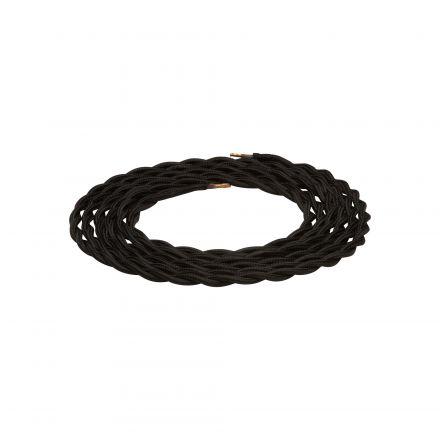 Câble textile torsadé Noir 2m 2x0,75mm2