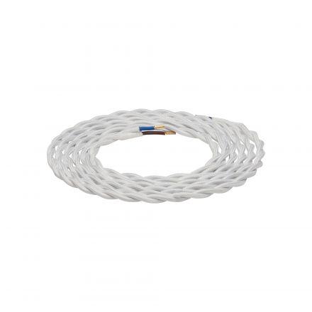 Câble textile torsadé Blanc 2m 2x0,75mm2
