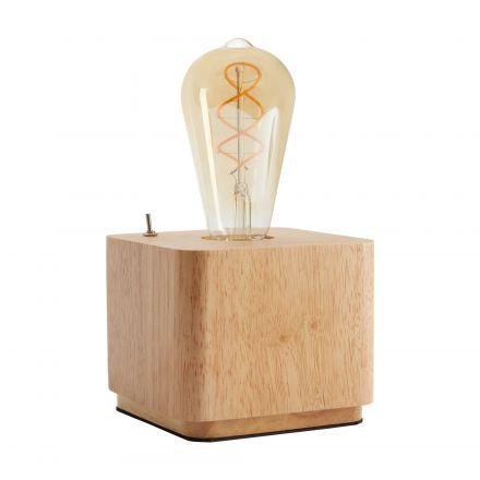 Lampe de table BOIS carrée câble textile 1.50m E27 40W max