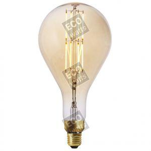 Ecowatts - Big bulb LED filament 290mm 8W E27 2000K 700Lm Dimmable Ambré