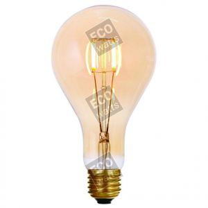 Ecowatts - Big bulb LED filament 200mm 4W E27 2000K 300Lm Dimmable Ambré