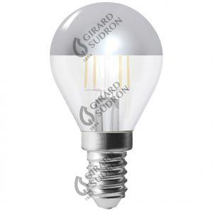 Sphérique G45 Filament LED Calotte Argentée 4W E14 2700K 350Lm No Dim.