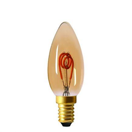 Flamme C35 Filament LED 3 LOOPS 3W E14 100lm Dim. Ambrée