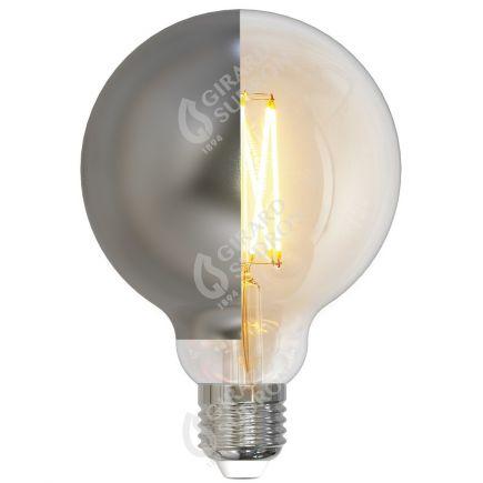 Globe D95 Filament LED Latéral Argent 8W E27 2700K 950Lm Dim.