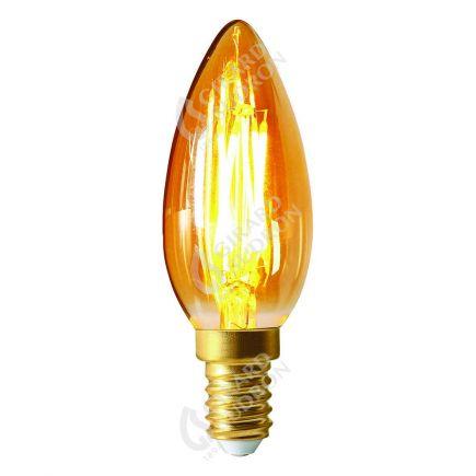 Flamme Lisse C35 Filament LED 5W E14 2200K 500lm Ambrée