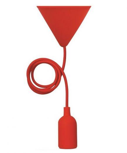 EcoWatts - Suspension E27 Silicone câble textile L.1m Rouge