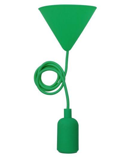 EcoWatts - Suspension E27 Silicone câble textile L.1m Verte