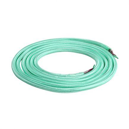 Câble Textile Rond 2x0,75mm2 Double Isolation Jade 2 Mètres