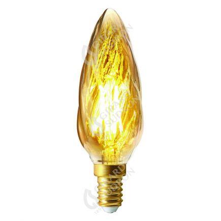 Flamme Torsadée F6 Filament LED 4W E14 2500k 280lm Dimmable Ambrée