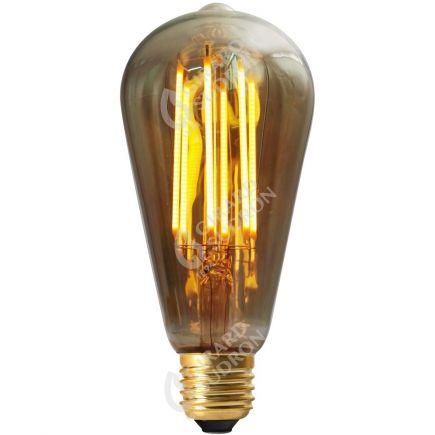Edison Filament LED DROIT 4W E27 2100k 200lm Dimmable Smokey RA>90