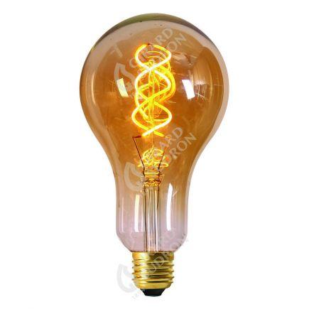 Ampoule Géante 200mm Filament LED spirale 4W E27 2000k Ambrée