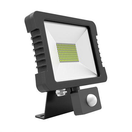 Yonna - Projecteur LED IP65 30W 4000K 2280lm 110° Noir Détecteur présence