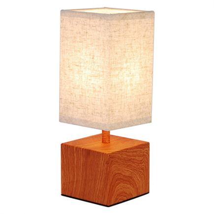 Lampe à poser E14 Max.40W abat-jour Lin Blanc - pieds Bois foncé- cable PVC L.120cm avec inter. Noi