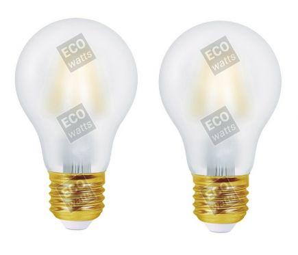Ecowatts - Lot de 2 Ampoules Standard A60 Filament LED 4W 440lm E27 2700k Mat