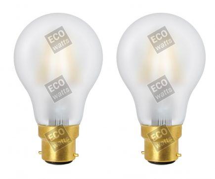 ECOWATTS - Lot de 2 Ampoules Standard A60 Filament LED 8W 1000lm B22 4000k Matte