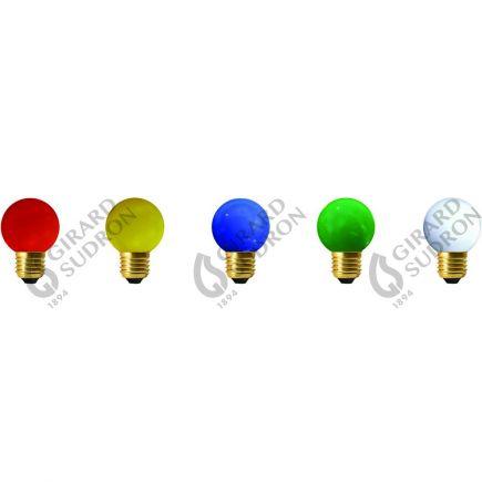 GS - LOT 5 SPHERIQUES LED IP44 E27 1W Couleurs panachées (Rouge/ Vert/ Jaune/ Bleu / Blanc Chaud)