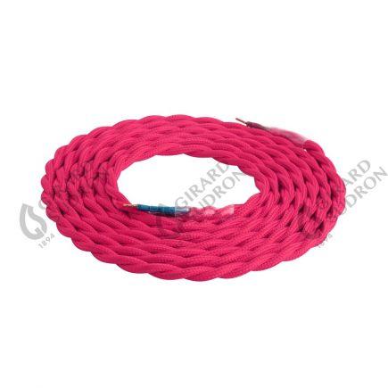 Câble Textile Torsadé 2x0,75mm Rose 2 Mètres