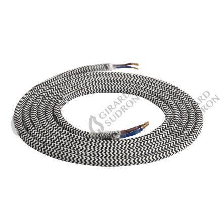 Câble Textile Rond 2x0,75mm2 Double Isolation Noir et Blanc 2 Mètres
