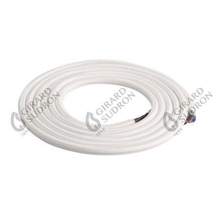 Câble Textile Rond 2x0,75mm2 Double Isolation Blanc 2 Mètres