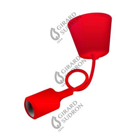 Suspension Douille E27 et Pavillon Silicone Rouge + Câble Textile Rouge 80 Cm