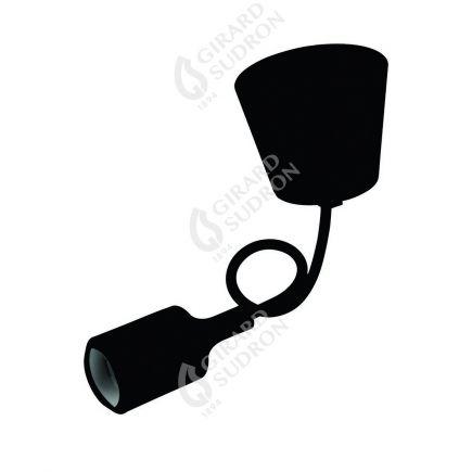 Suspension Douille E27 et Pavillon Silicone Noir + Câble Textile Noir 80 Cm