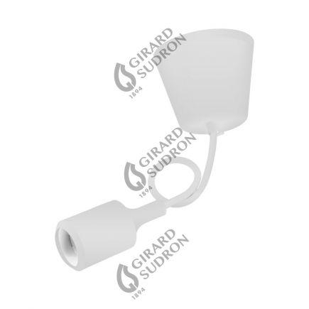 Suspension Douille E27 et Pavillon Silicone blanc + Câble Textile blanc 80 Cm