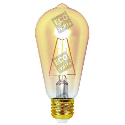 FS Ecowatts - Lampe LED Edison E27 4W Ambrée Blanc chaud Blister 3125469986676
