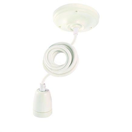 Suspension Douille E27 et Pavillon Céramique Blanche + Câble Textile Blanc 1 Mètre