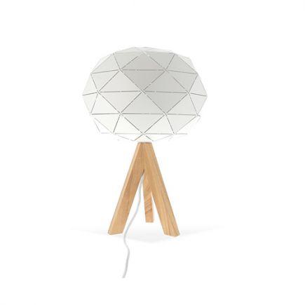 Lampe à poser GRAPHIQUE E27 Max.60W abat-jour Blanc extérieur / Blanc intérieur - Pieds Bois clair câble L.2m.