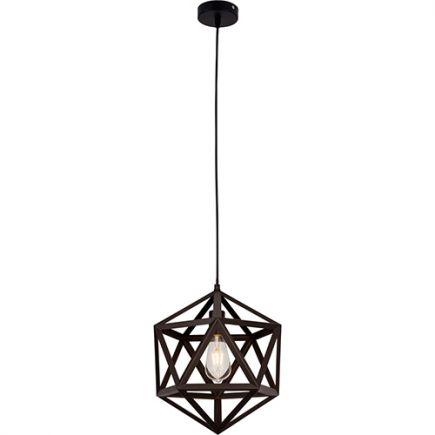 SUSPENSION Design Graphique E27 60W Max Abat-jour Noir Mat Géométrique