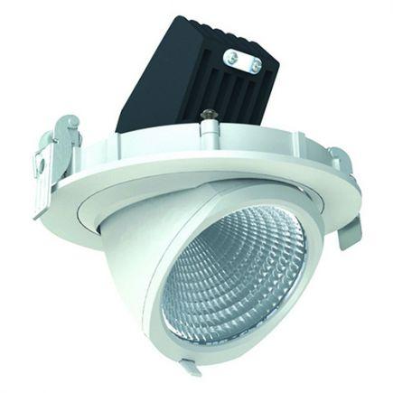 Simba - Spot encastré orientable LED Ø136x100 enc.Ø125 20W 4000K 1900lm 36° blanc
