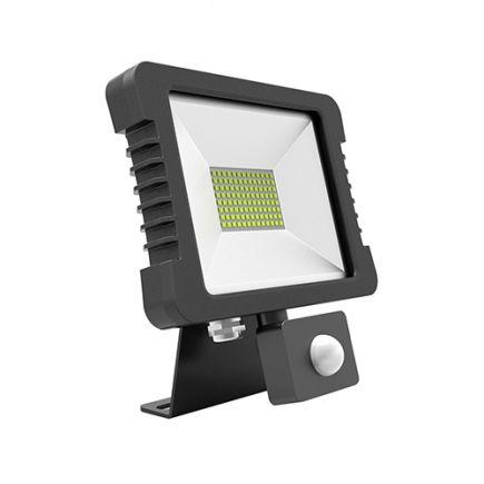 Yonna - Projecteur LED IP65 118x167.5x27.5 10W 3000K 720lm 110° noir PIR